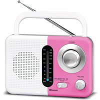 Soundz BT USB SD AC/DC Portable Radio with Bluetooth - White/Pink