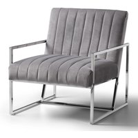 Rina Chair Velvet Grey Stainless Steel Legs