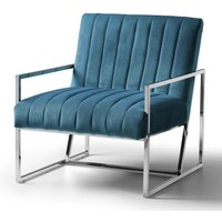 Rina Chair Velvet Peacock Stainless Steel Legs