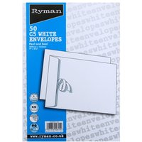 Ryman C5 White Envelopes - 50 Pack