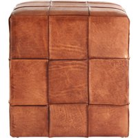 Inca Square Stool Brown Leather