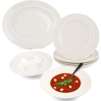 Alessi La Bella Tavola 9-Piece Porcelain Dinner Plate and Bowl Set - White