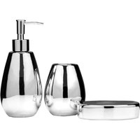 Maison by Premier 3-Piece Magpie Dolomite Bamboo Bathroom Set - Silver