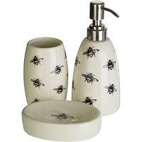 Maison by Premier 3-Piece Queen Bee Ceramic Bathroom Set - Natural/Black