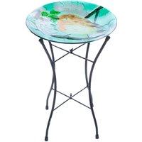 Flamboya Robin Glass Birdbath