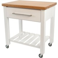 TandG Woodware TandG Loft Trolley In White Hevea With Oak Top