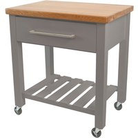 TandG Woodware TandG Loft Trolley In Grey Hevea With Oak Top