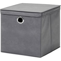H & L Russel H&L Russel Large Non-Woven Storage Box with Lid - Grey