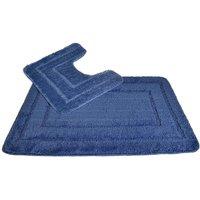 Allure Lisa Border 2 Piece Bathroom Set - Blue