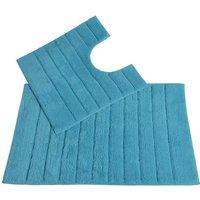 Allure Linear Rib 2 Piece Bathroom Set - Turquoise