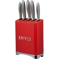 KitchenCraft Lovello Retro 5-Piece Stainless Steel Knife Set and Block - Scarlet Red