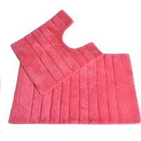 Allure Linear Rib 2 Piece Bathroom Set - Hot Pink