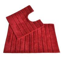 Allure Linear Rib 2 Piece Bathroom Set - Cranberry