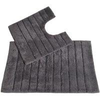 Allure Linear Rib 2 Piece Bathroom Set - Charcoal