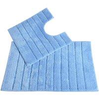 Allure Linear Rib 2 Piece Bathroom Set - Baby Blue