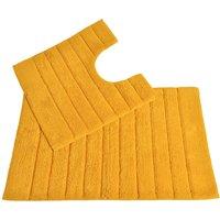 Allure Linear Rib 2 Piece Bathroom Set - Mustard