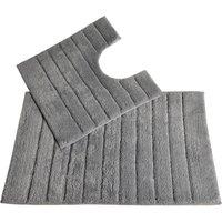 Allure Linear Rib 2 Piece Bathroom Set - Dove Grey