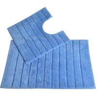 Allure Linear Rib 2 Piece Bathroom Set - Cornish Blue