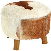 Inca Round Stool White / Brown Goathide