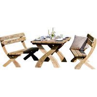 Zest4Leisure Harriet Wooden Garden Dining Table and Bench Set