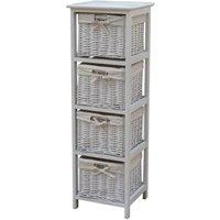 charles bentley wooden storage tallboy with wicker baskets, white