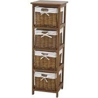 charles bentley wooden storage tallboy with wicker baskets, cream