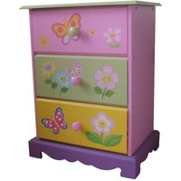 butterfly garden wooden chest of 3 drawers