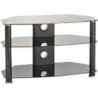 TTAP C301C 6003B Classik Curve 600mm TV Stand in Satin Black with Glas