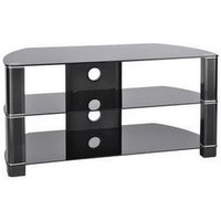 TTAP L609 600 3B Symmetry 600mm TV Stand in Black Gloss with Glass