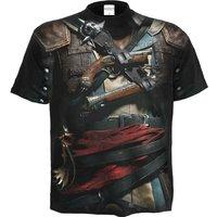 'Assassins Creed Iv Black Flag Allover Licensed T-shirt Black