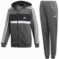 Adidas Cotton Hooded Tracksuit - Boys - Grey/black