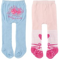 Baby Annabell Tights 2 Pack - Floral Roses & Peach Colour Design - Baby Gifts