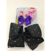 JoJo Siwa Rhinestone Bow 2 Pack - Black with multicolor stones