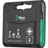 Wera Bit Box Pozi Impaktor Screwdriver Bits PZ2 25mm Pack of 15