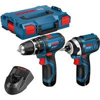 Bosch 12v Cordless Combi Drill and Impact Driver 2 x 2ah Li ion Charger Case
