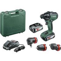 Bosch ADVANCEDDRILL 18v Cordless Drill Driver   3 Attachments 2 x 2 5ah Li ion Charger Case