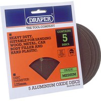 Draper Aluminium Oxide Sanding Discs 125mm 125mm Medium Pack of 5