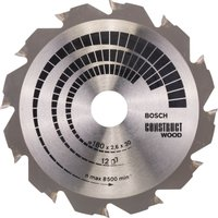 Bosch Construct Wood Cutting Saw Blade 180mm 12T 20mm