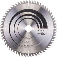 Bosch Optiline Wood Cutting Table Saw Blade 250mm 60T 30mm