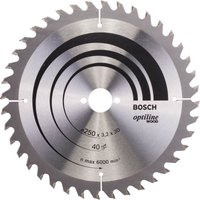 Bosch Optiline Wood Cutting Saw Blade 250mm 40T 30mm