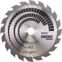Bosch Construct Nail Proof Wood Cutting Table Saw Blade 250mm 20T 30mm