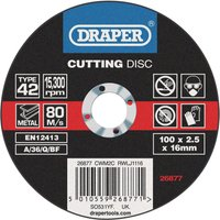 Draper Depressed Centre Metal Cutting Disc 100mm 2 5mm 16mm
