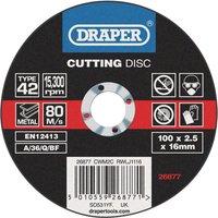 Draper Depressed Centre Metal Cutting Disc 100mm 2.5mm 16mm