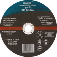 Draper Flat Metal Angle Grinder Cutting Disc 180mm Pack of 1
