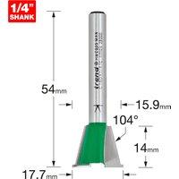Trend CRAFTPRO Dovetail Jig Router Cutter 17.7mm 14mm 1/4