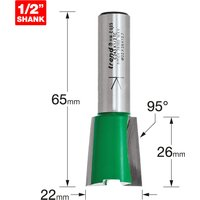 Trend CRAFTPRO Stair Jig Housing Dovetail Router Cutter 22mm 26mm 1/2