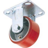 Draper Fixed Plate Fixing Heavy Duty Polyurethane Wheeled Caster 125mm