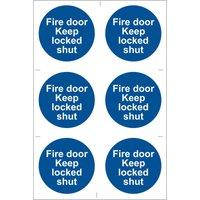 Draper Fire Door Keep Locked Sign Pack of 6 100mm 100mm Standard