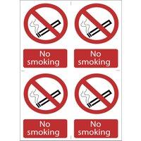 Draper No Smoking Sign Pack of 4 100mm 150mm Standard