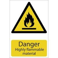 Draper Danger Highly Flammable Material Sign 200mm 300mm Standard